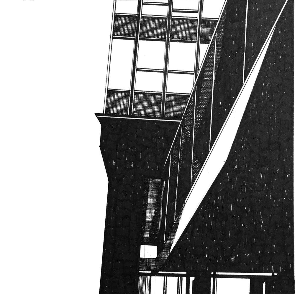 Image of Sheffield Arts Tower. Original Pen & Ink Study #3
