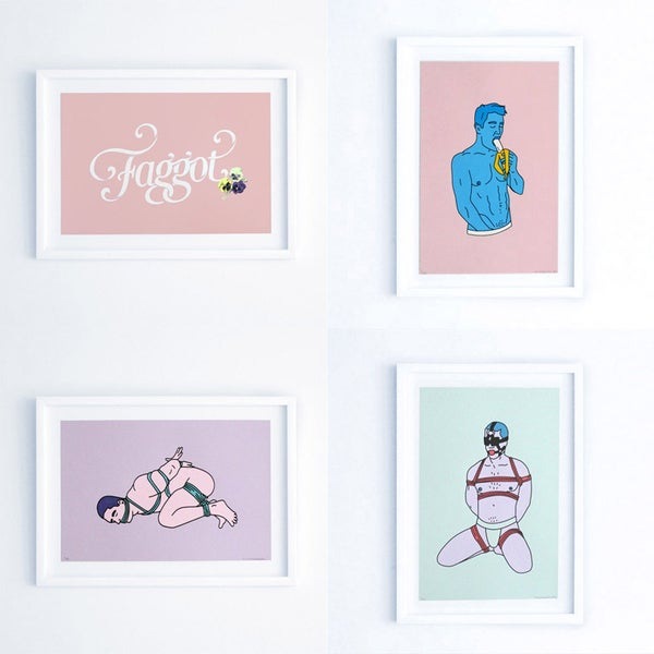 Image of Prints - Various Silkscreen (Faggot, Banana, Bondage, Gag)