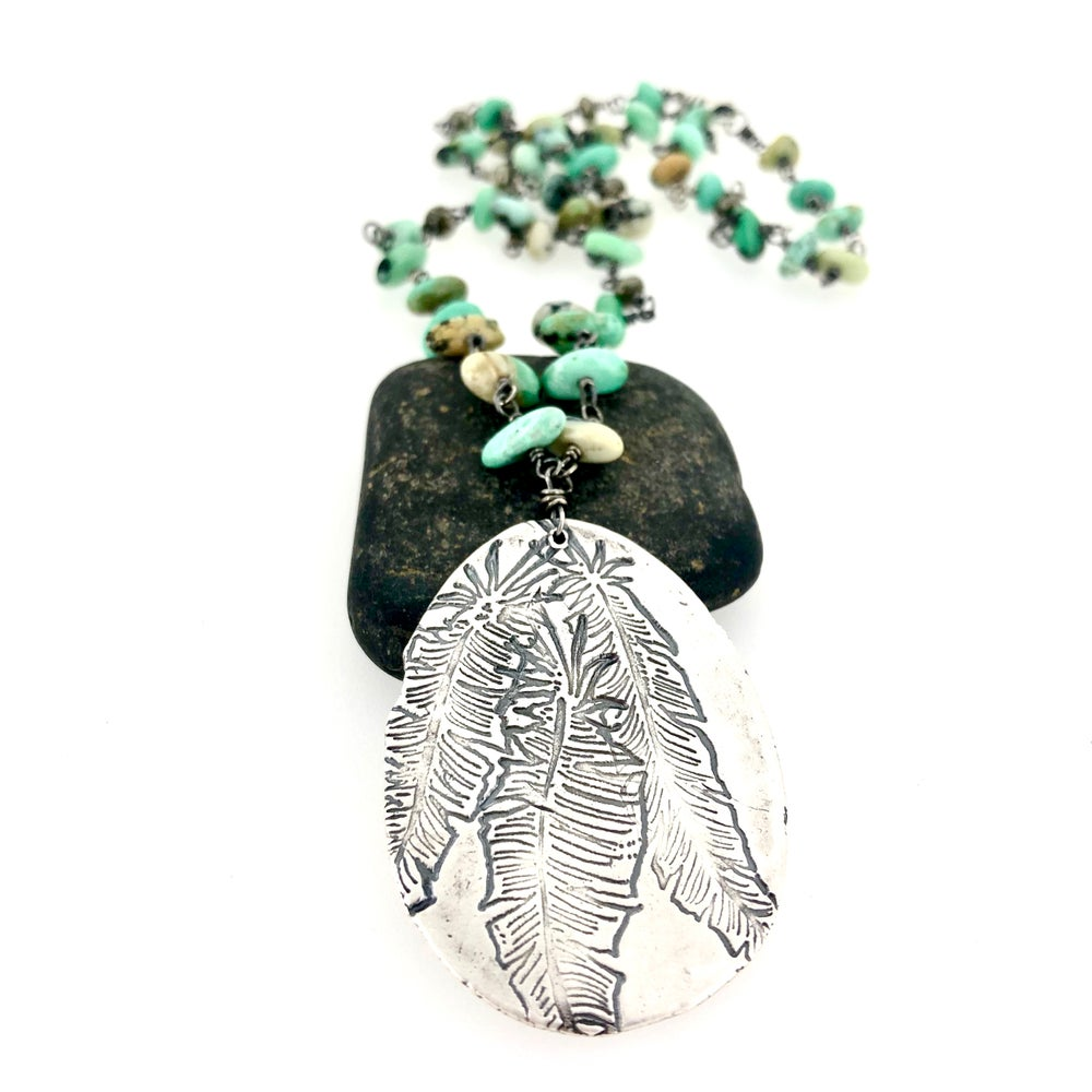 Image of New Lander variscite necklace with Camus quote