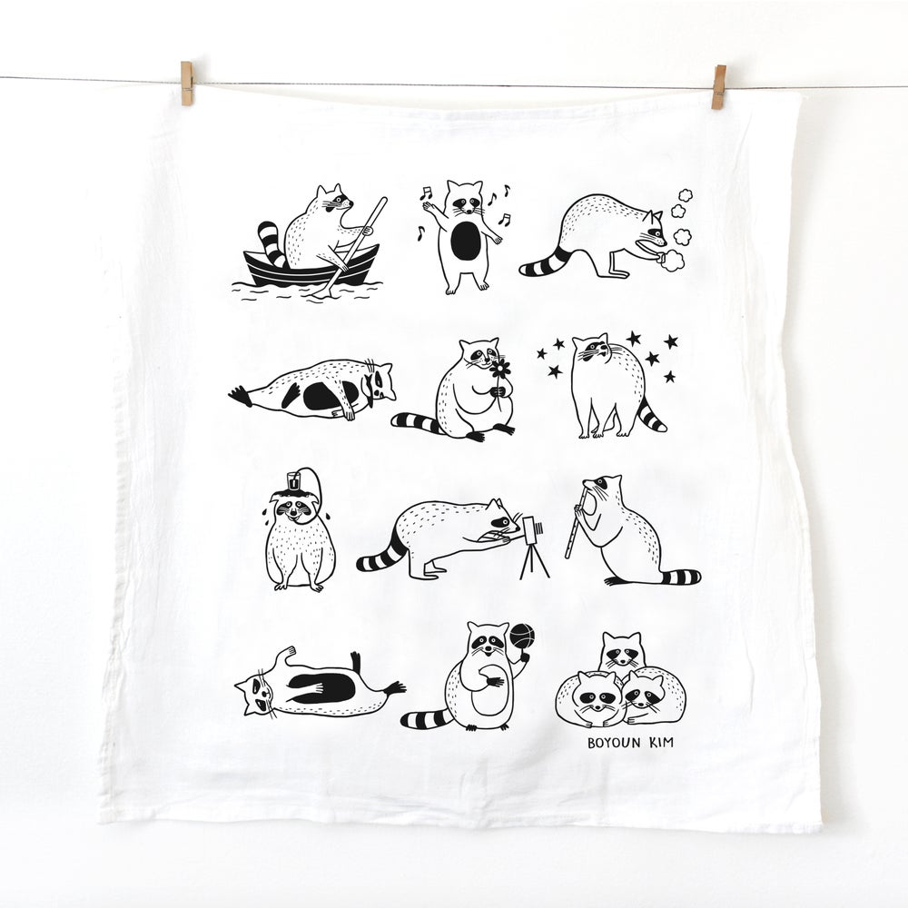 Image of Raccoon Tea Towel