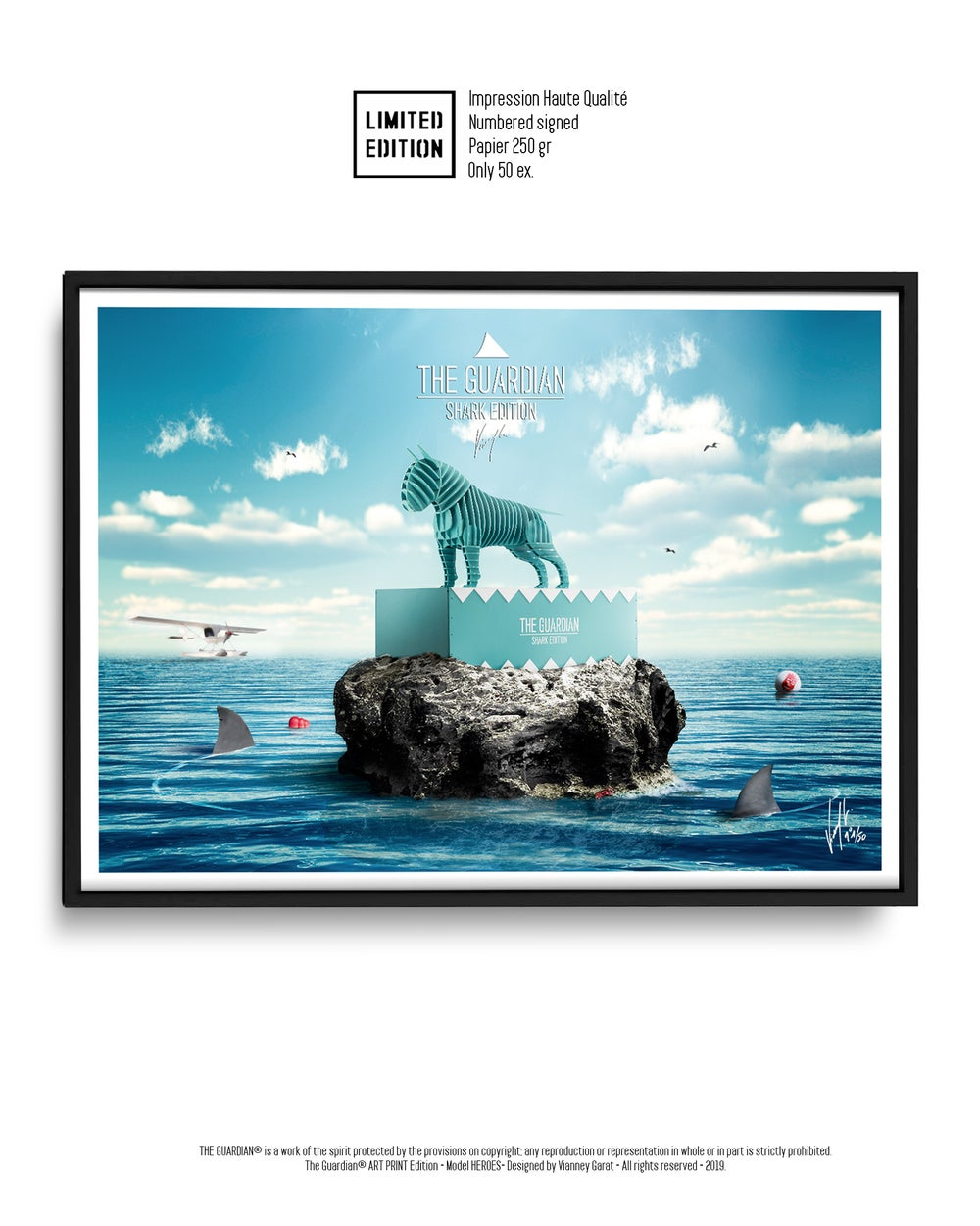 Image of ART PRINT - THE GUARDIAN SHARK - Limited Edition 50 Units.