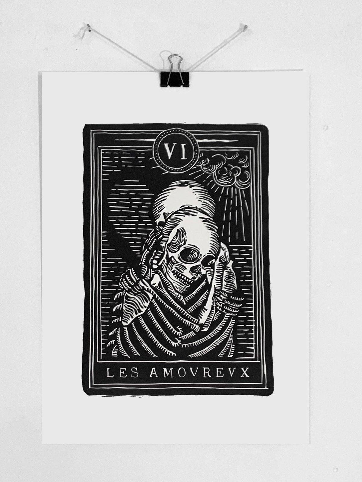 """Image of Linogravure """"LES AMOVREVX"""" A3 - Édition Numérotée"""