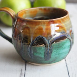 Image of Handmade Mug with Colorful Dripping Glazes, Handcrafted Art Pottery Coffee Cup, 14 oz. Made in USA
