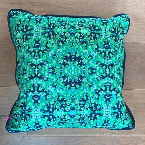 Image of Green Abstract Repeat Velvet Cushion