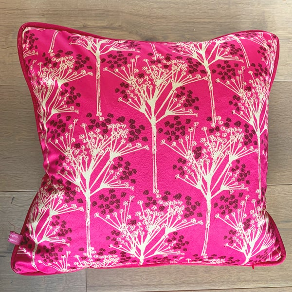 Image of Pink Sprigs Velvet Cushion