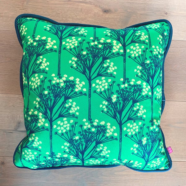 Image of Green Sprigs Velvet Cushion