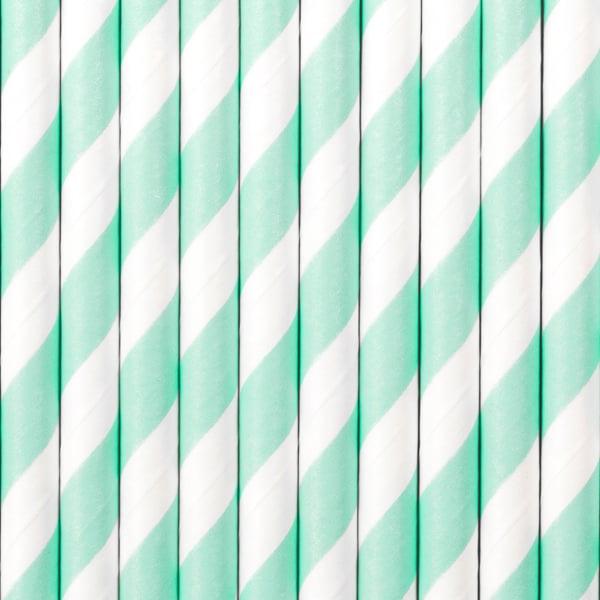 Image of Pajitas de papel rayas Mint (25ud)