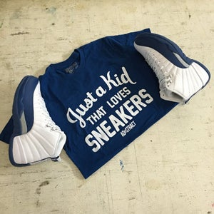 """Image of JUST A KID THAT LOVES SNEAKERS """"NAVY OR FRENCH BLUE"""" TSHIRT (MENS)"""