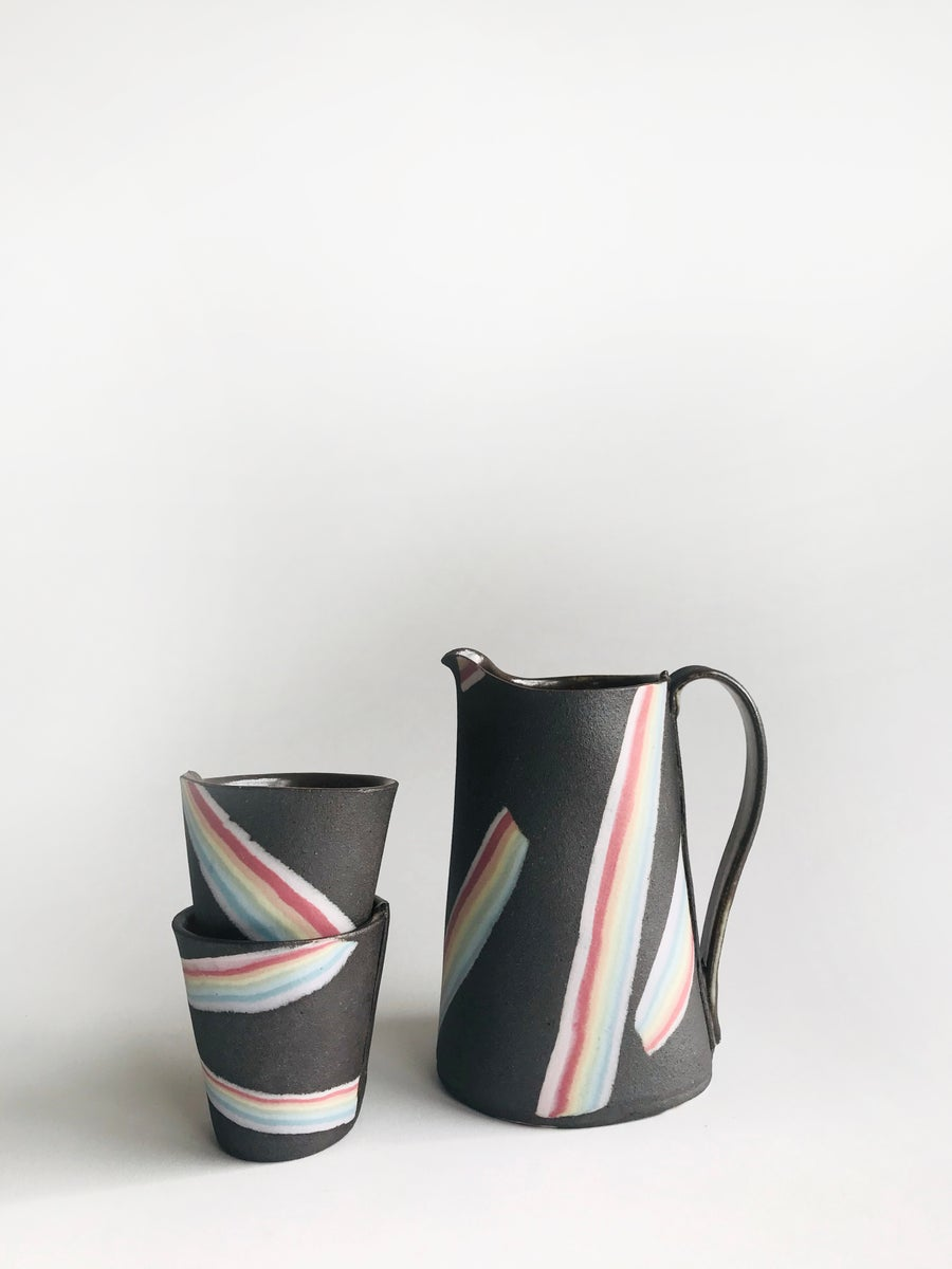 Image of Rainbow on Dark Sky Medium Pitcher