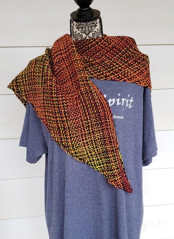 Image of NightFire, shawl, handwoven