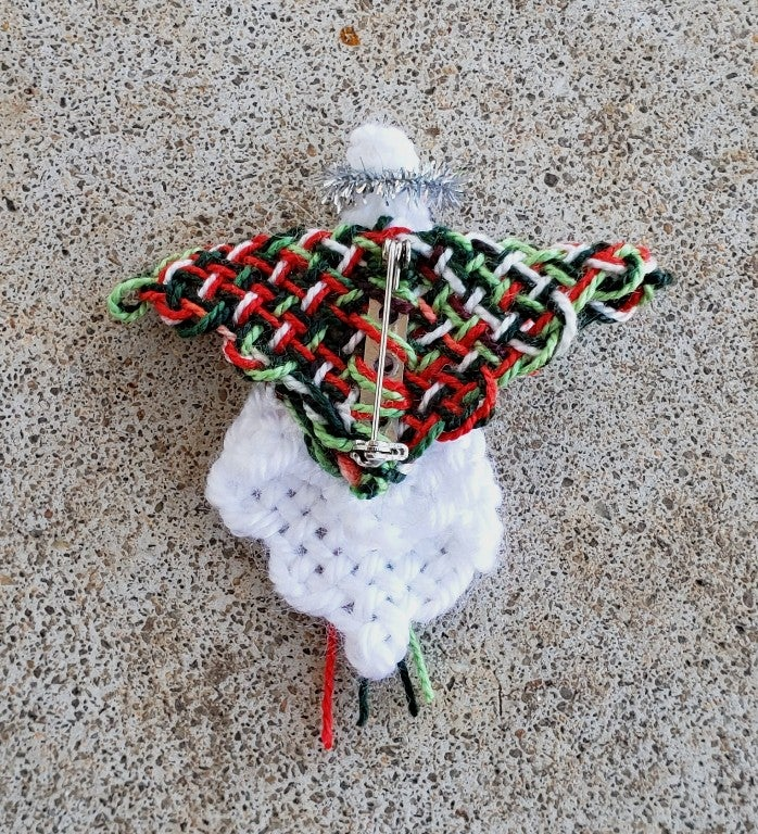 Image of Christmas Angel Pin, brooch, handwoven