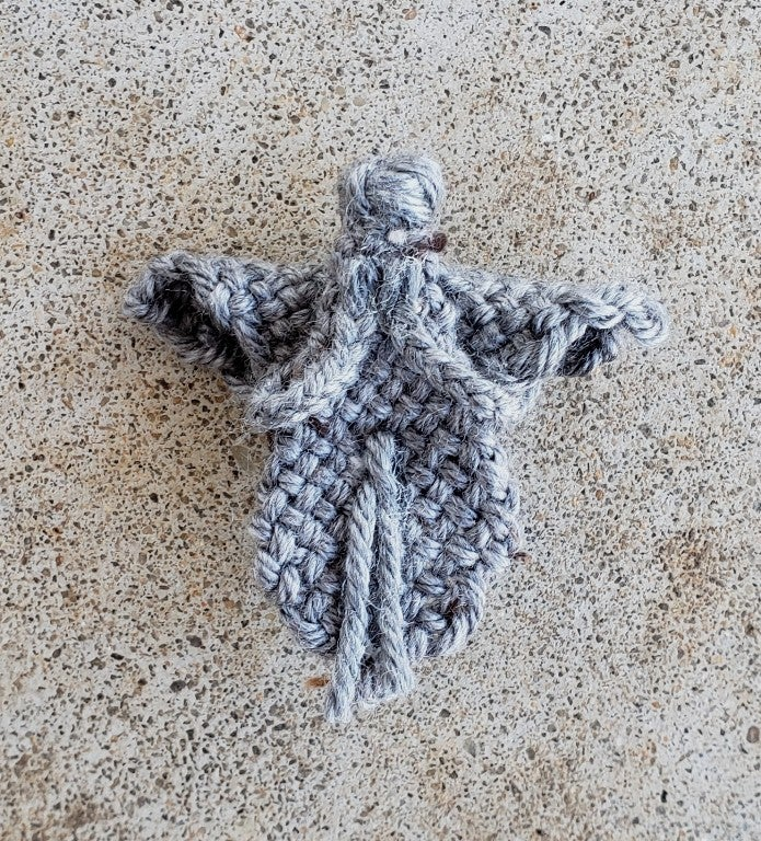 Image of Stone Angel Pin, brooch, handwoven