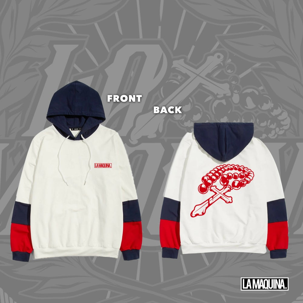 Image of LaMaquina Rosary - Color Block Hoodie (White/Navy/Red)