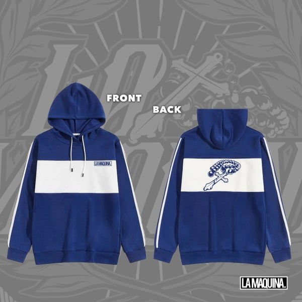 Image of LaMaquina Rosary - Colorblock Hoodie (Royal Blue/White)