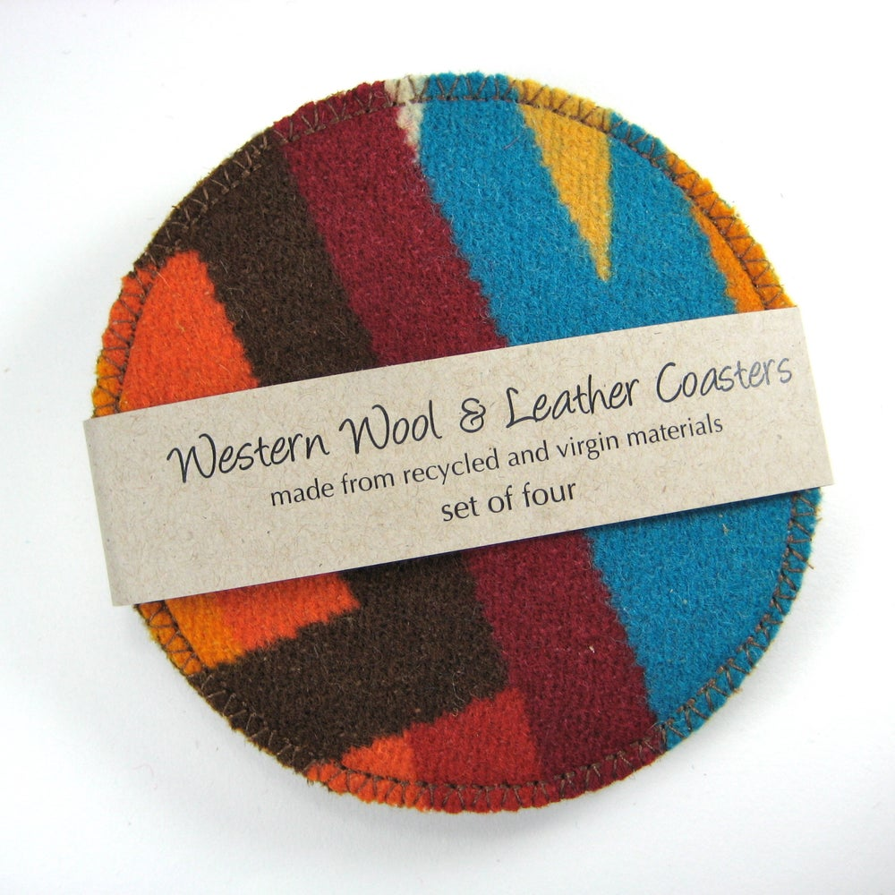 Image of Wool & Leather Coasters - Turquoise Sunset