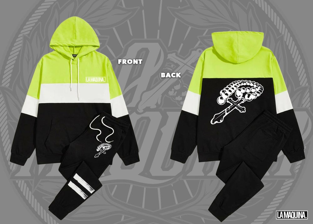 Image of LaMaquina Rosary - Colorblock Hoodie Striped Tracksuit Unit (Florescent Green/White/Black)