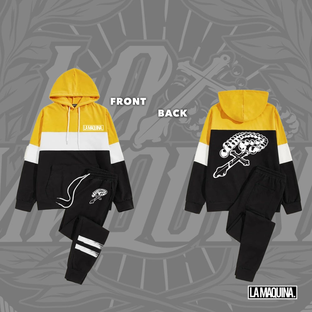 Image of LaMaquina Rosary - Colorblock Hoodie Striped Tracksuit Unit (True Yellow/White/Black)