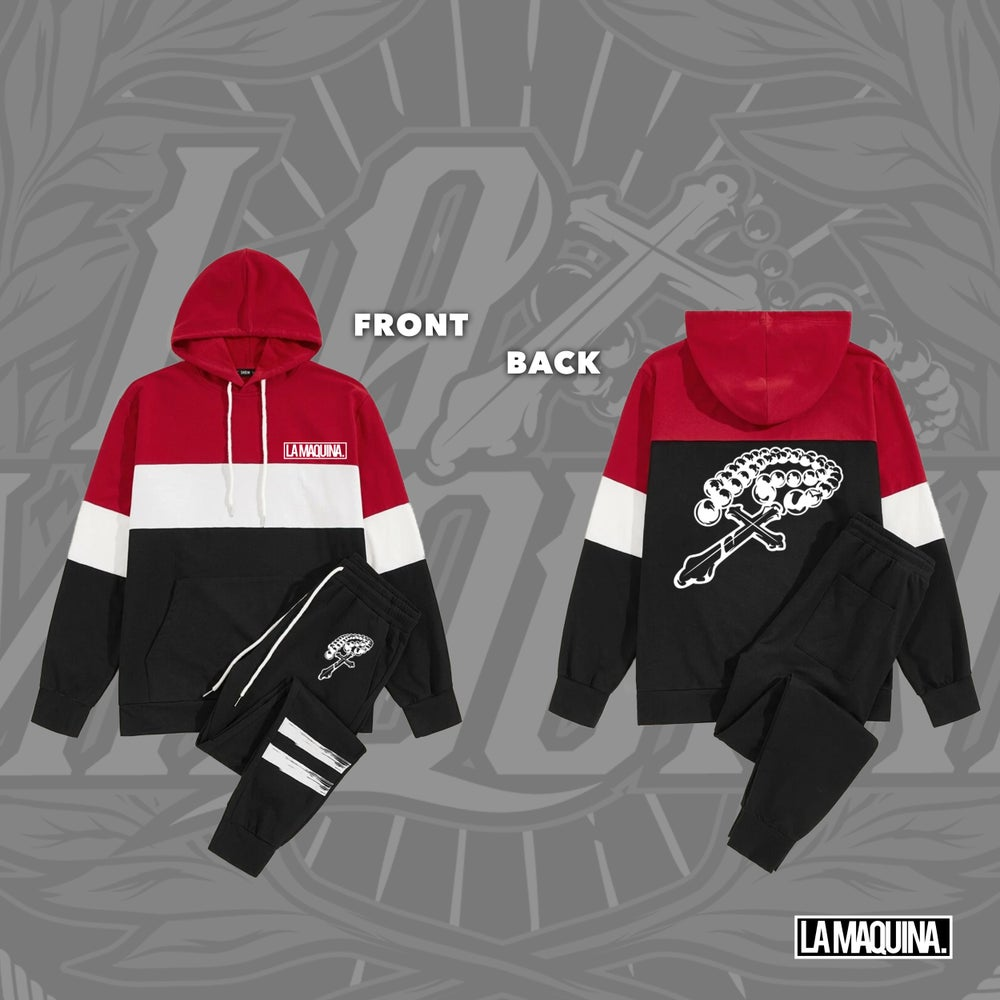 Image of LaMaquina Rosary - Colorblock Hoodie Striped Tracksuit Unit (Red/White/Black)