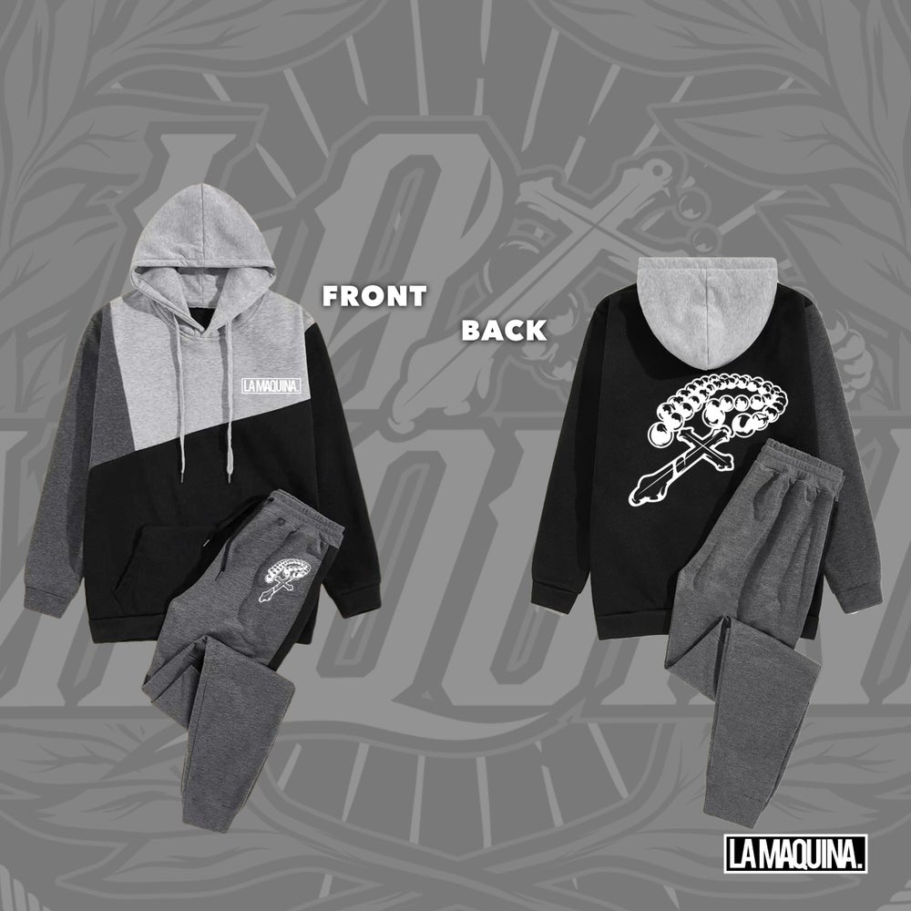 Image of LaMaquina Rosary - Cut & Sew Hoodie & Drawstring Sweatpants Unit (Grey/Dark Grey/Black)
