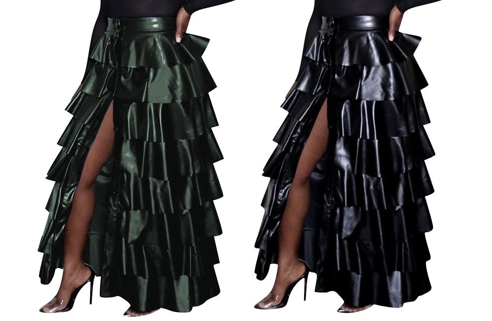 "Image of ""Show Stopper"" Tier Ruffle PU Skirt"
