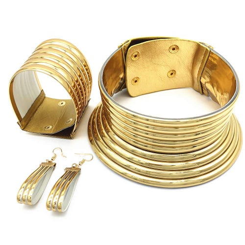 Image of African Ndebele Golden Choker 3 Pc. Set