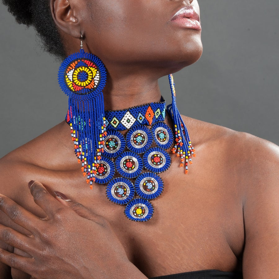 Image of Zulu Circle 10 Beaded Choker w/ Tasseled Beaded Earrings