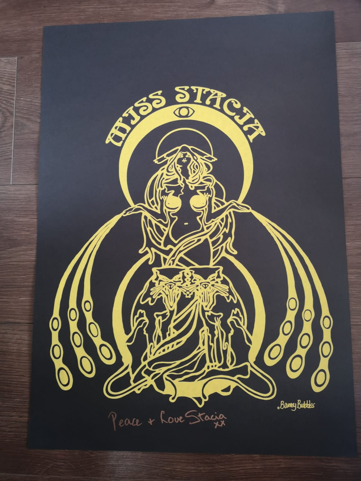 Image of 'Miss Stacia' Poster - Barney Bubbles Design (Hawkwind)