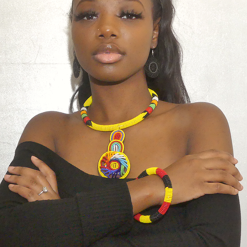 Image of Kenya Beaded Rope Necklace and Bangle Set