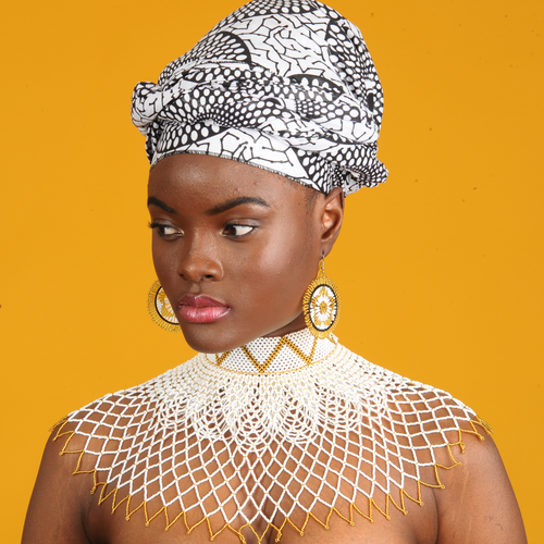 Image of Traditional Lace Choker and Zulu Spear Fringed Necklace Set