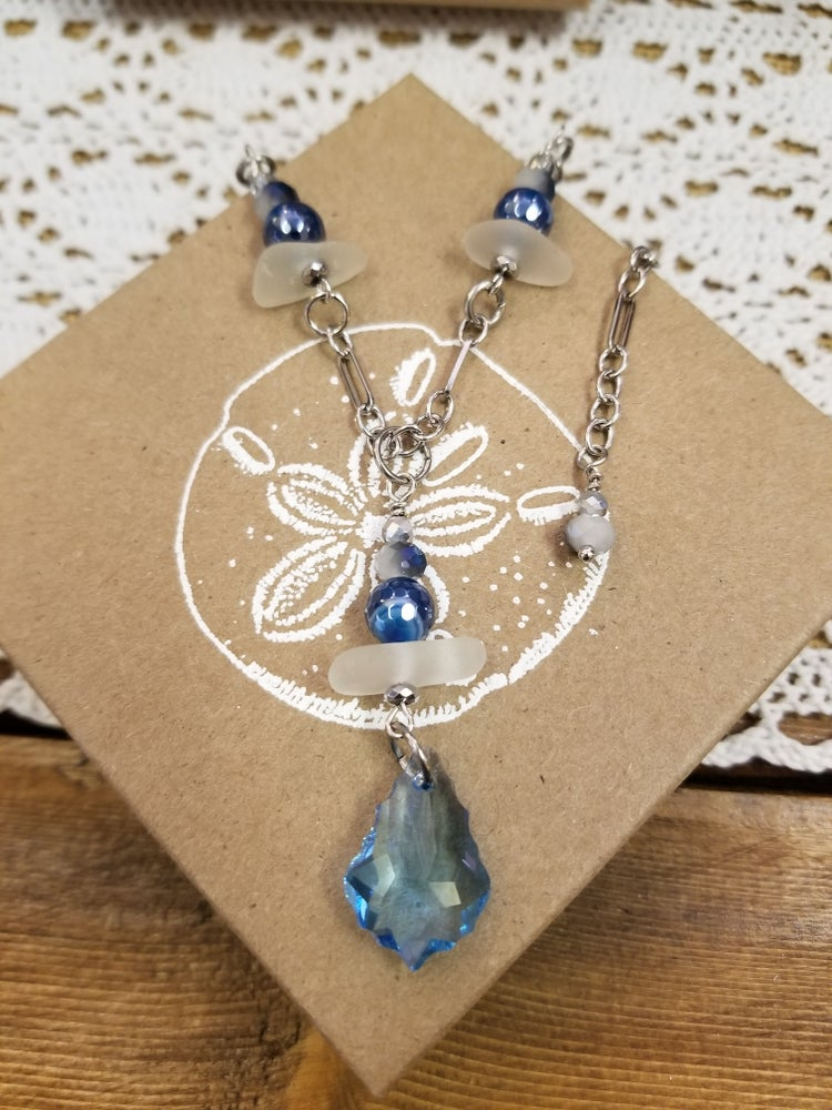 Image of Sea Glass- Swarovski Crystal- Agate- Necklace- #275