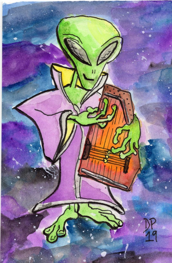 "Image of ""Space Harp"" original watercolor painting by Dan P."