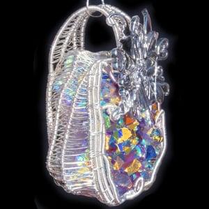 Image of Fairy Woven Wire Wrap Aura Amethyst Druzy Pendant