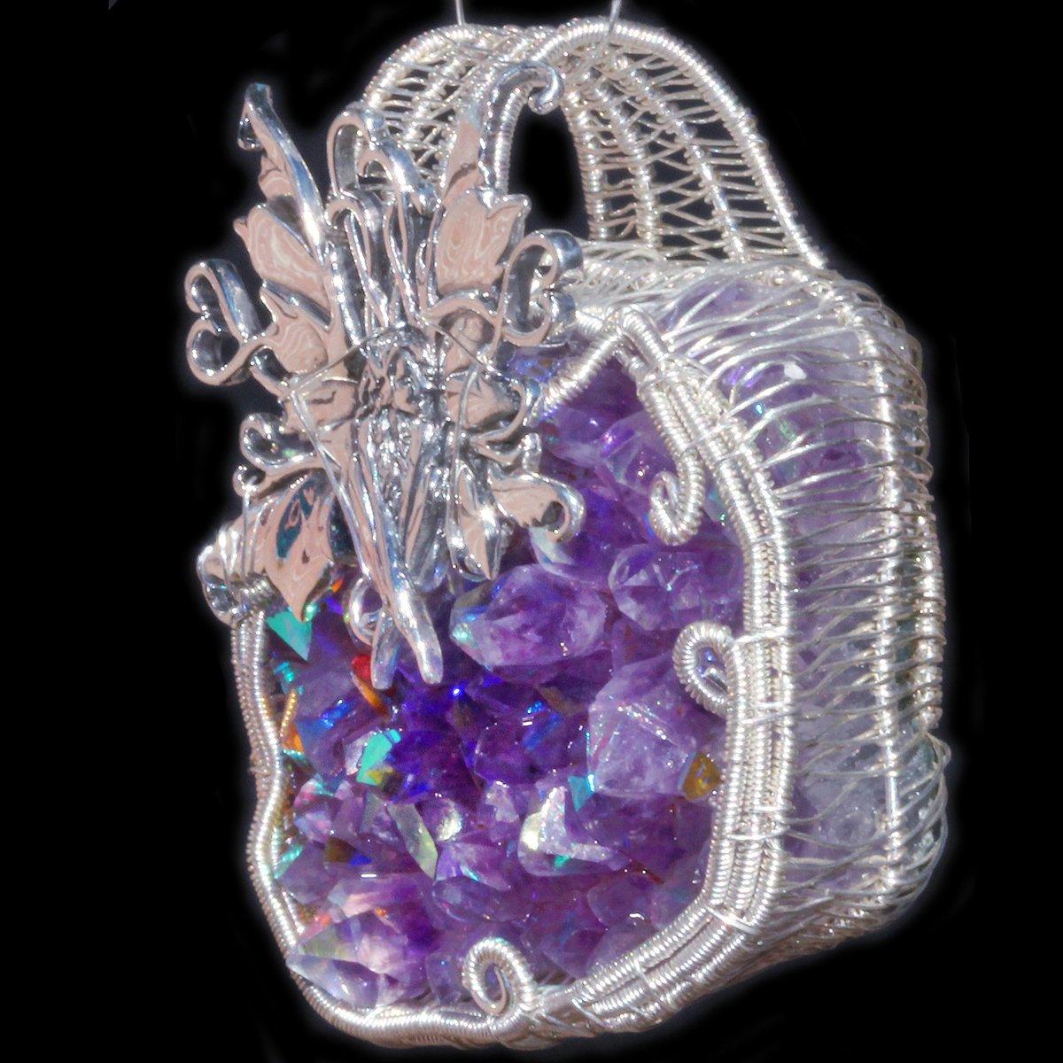 Fairy Woven Wire Wrap Aura Amethyst Druzy Pendant