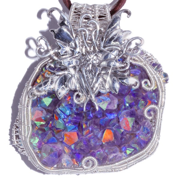 Image of Fairy Woven Wire Wrap Aura Amethyst Druzy Pendant