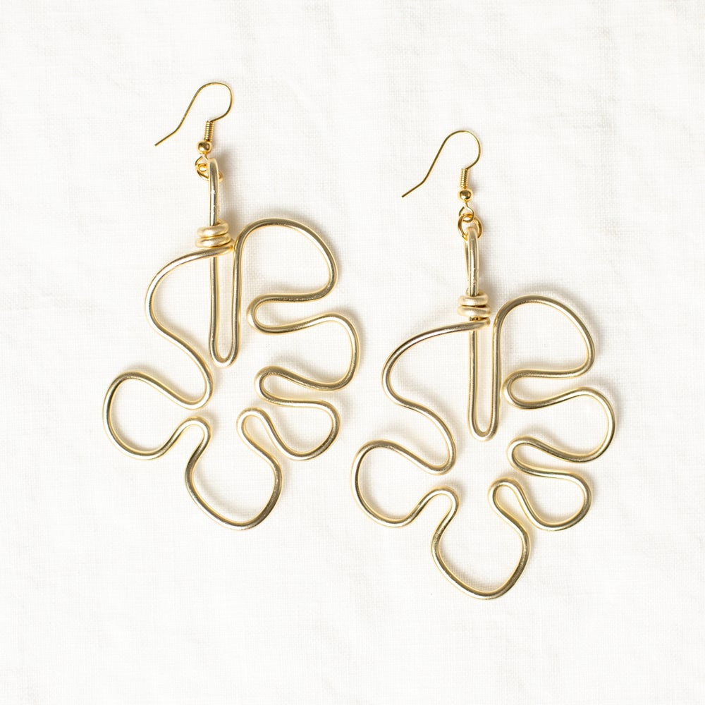 Image of Monstera Earrings - Gold