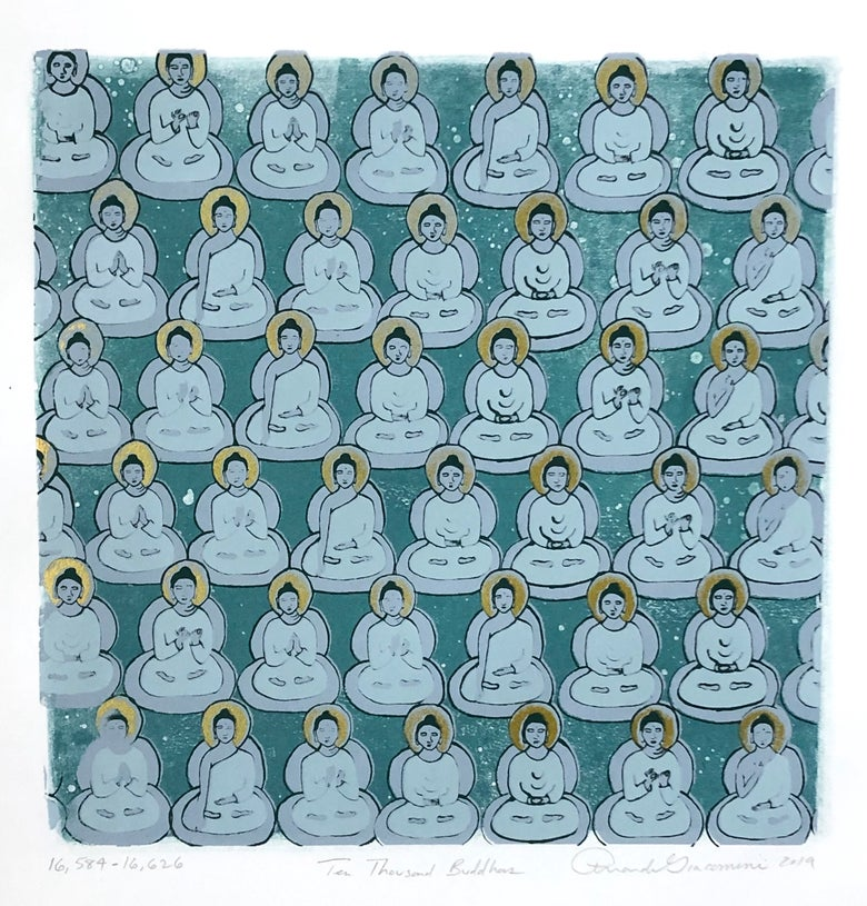 Image of Rich Turquoise and Gold Buddhas