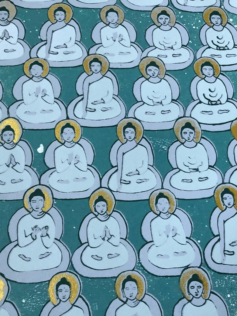 Image of Rich Teal and Gold Buddhas