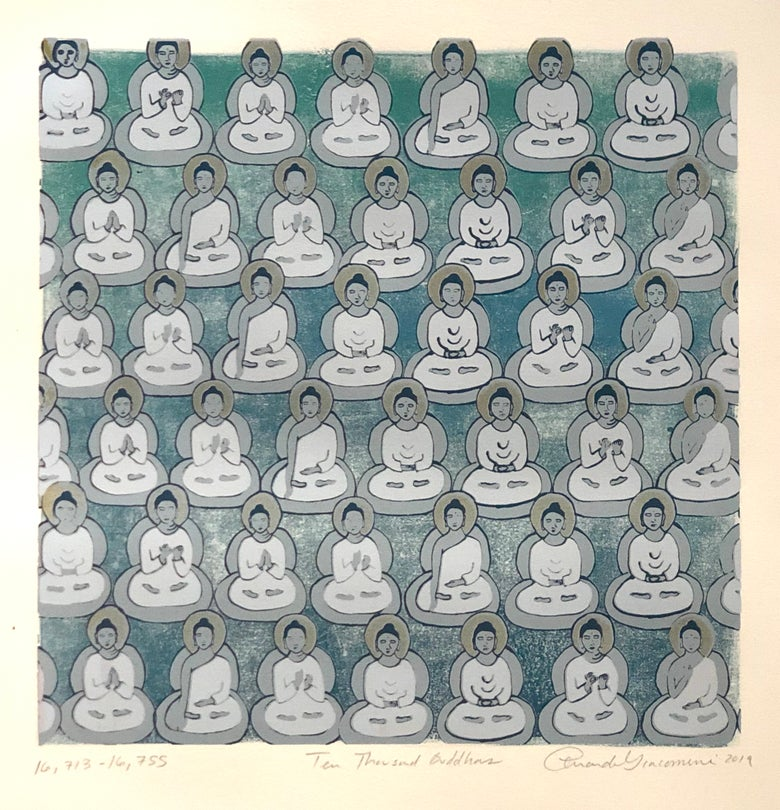 Image of Blue Green Gradient Buddhas