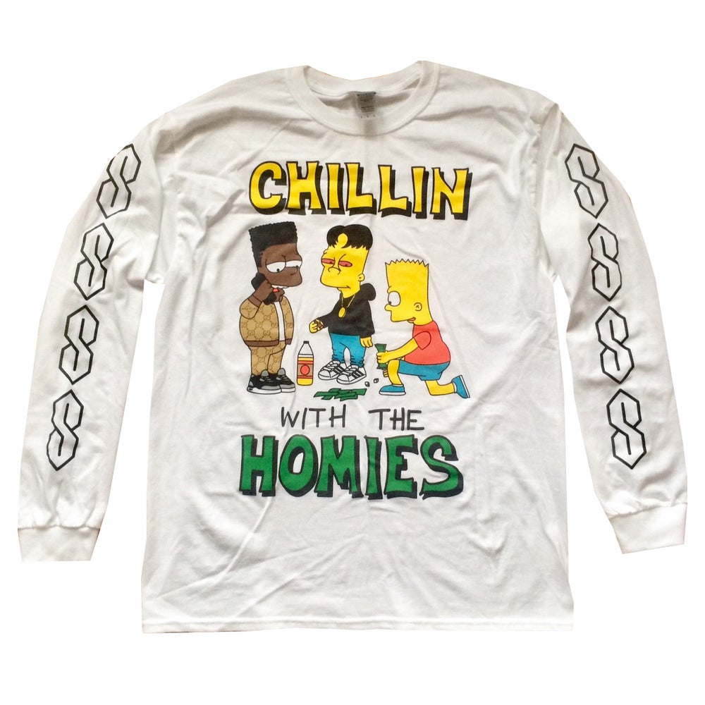 Image of BOOTLEG BART CHILLIN WITH THE HOMIES LONG SLEEVE TEE