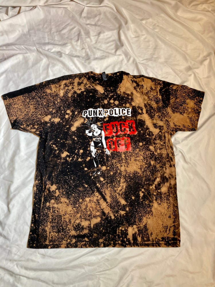 "Image of CUSTOM ONE OF A KIND ""PUNK POLICE FUCK OFF"" T-Shirt"