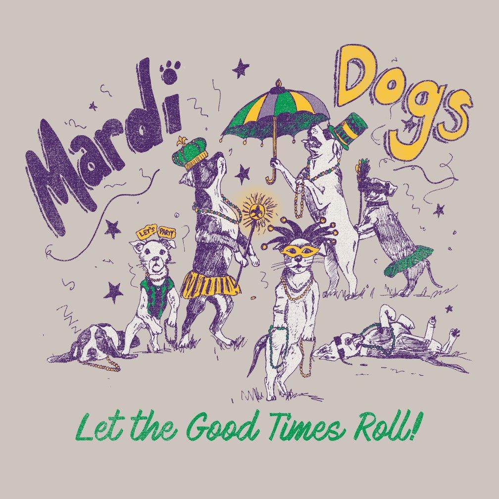 Image of Adult Mardi Dogs Long Sleeve Tee