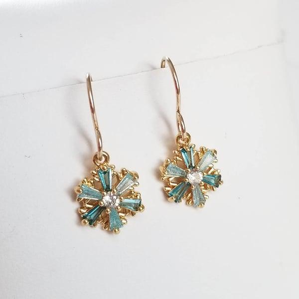 Image of Aqua Snowflake Earrings