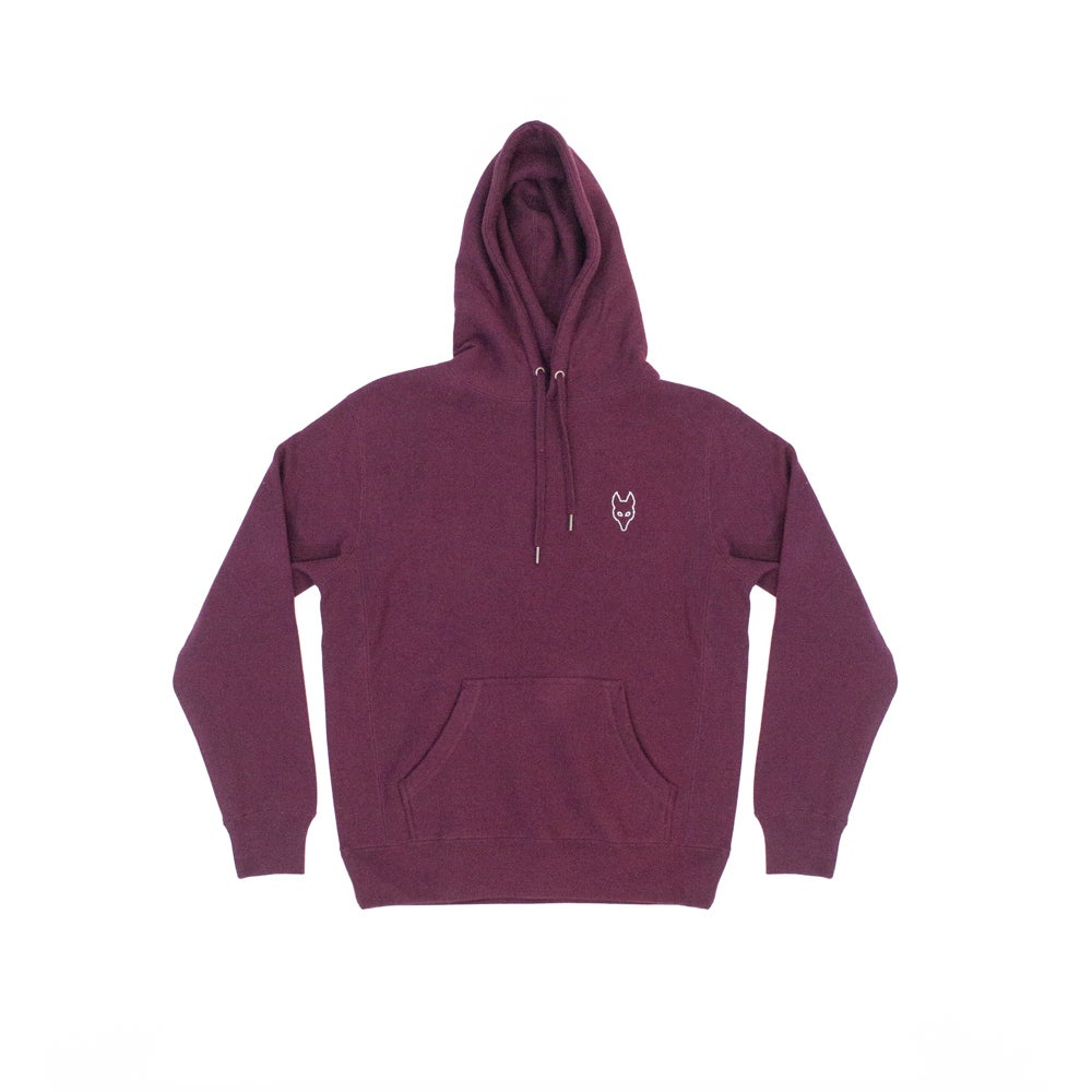 Image of The Dire Wolf -  Heavyweight Hoodie - Mint on Maroon