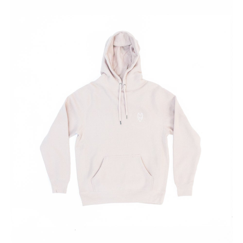 Image of The Dire Wolf - Heavyweight Hoodie -  White on Dusty Pink