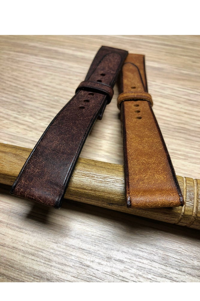 Image of Tan distressed calfskin watch strap