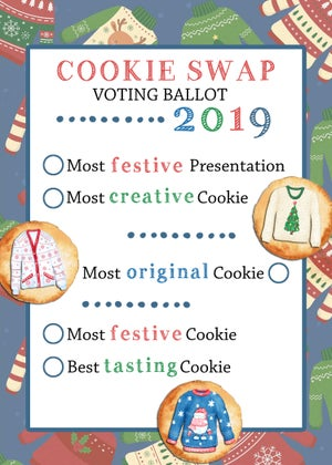 Image of Ugly Sweater Cookie Swap Invitation & Ballots