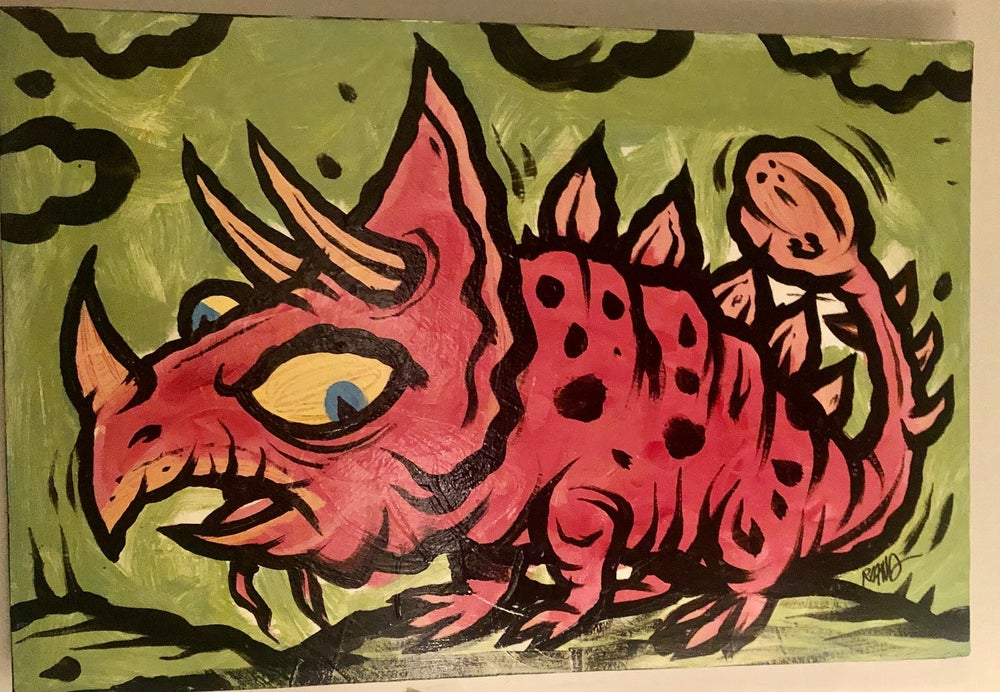 Image of Prehistoric series - new! Pink horned thunder lizard painting!