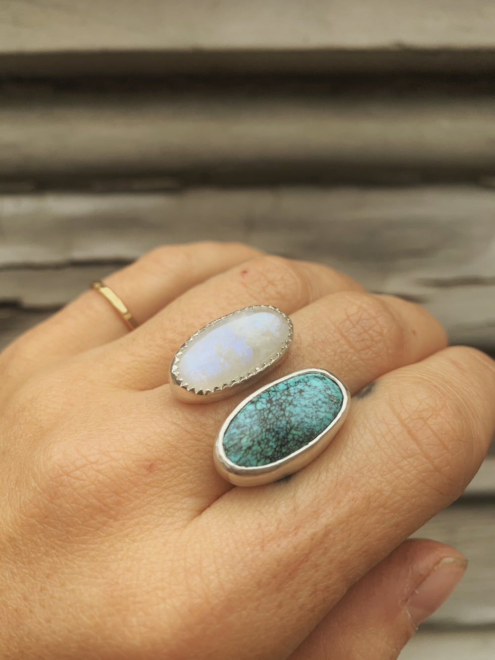 Image of Moonstone + Turquoise Ring