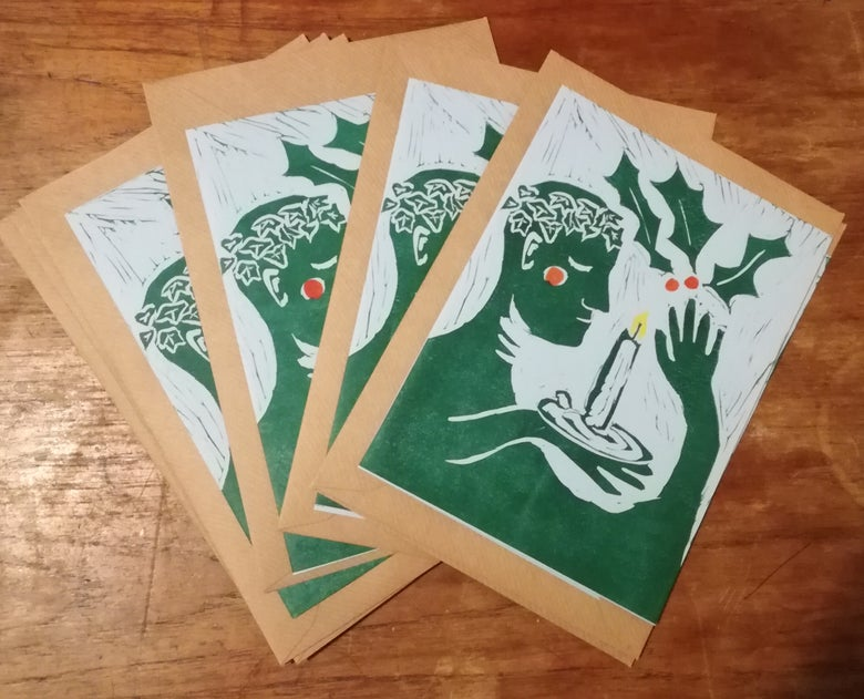Image of Hand printed winter solstice / Yule cards