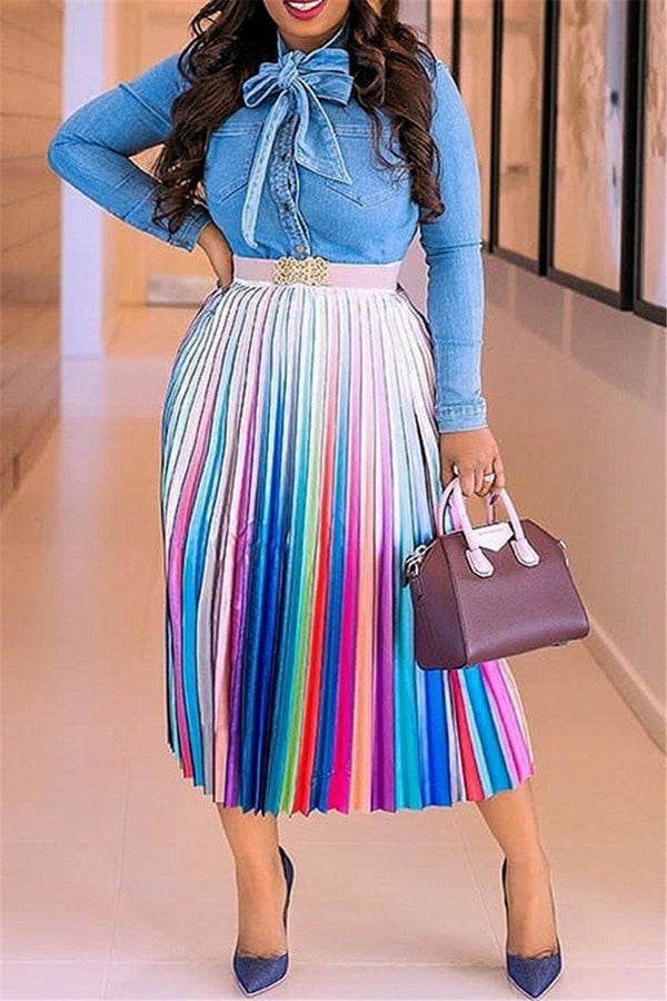 Image of Multi Pink Pleated Skirt